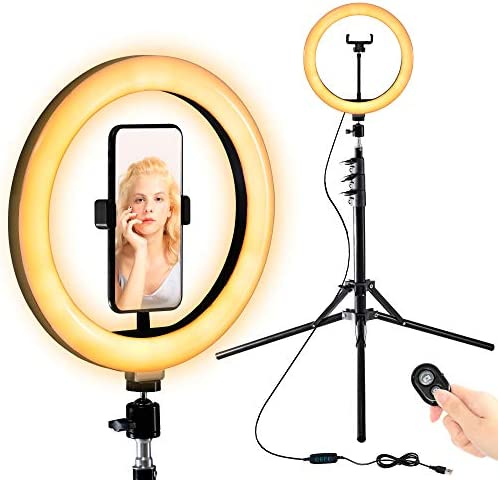 Selfie Ring Light 10 with Adjustable Tripod Stand Phone Holder for Live Stream Makeup Dimmable product image