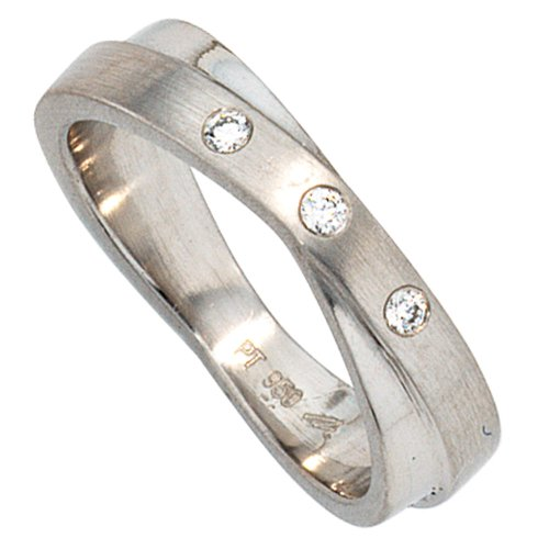 Ring Damenring aus 950 Platin mattiert mit 3 Diamanten Brillanten Platinring, Ringgröße:Innenumfang 54mm ~ Ø17.2mm