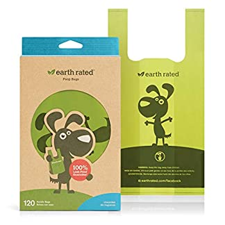 Earth Rated Easy-Tie Dog Poo Bags With Handles - 120 Extra Thick Poop Bags For Dogs   Each Unscented Doggy Waste Bag Measures 17x34cm   100% Leak-Proof Security 18