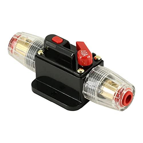 Yinyimei Disyuntores térmicos 2 0A 30A 40A 50A 60A 80A 100A 12V 24V Auto Retencible Fusible Circuito Amplificador de Audio Amplificador de sobrecarga Protección Fusible (Rated Current : 40A)