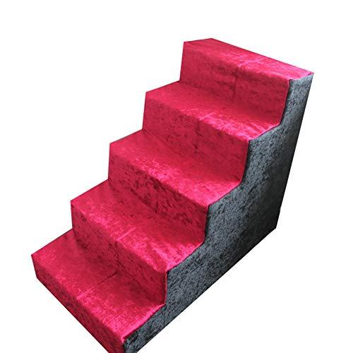 Escalier pour Chien- 5 Étape Escaliers pour Animaux pour Les Chats/Chiens, Rouge Extra Tall Pet Ladder, Moyennes Et Grandes Animaux, 40x75x60cm