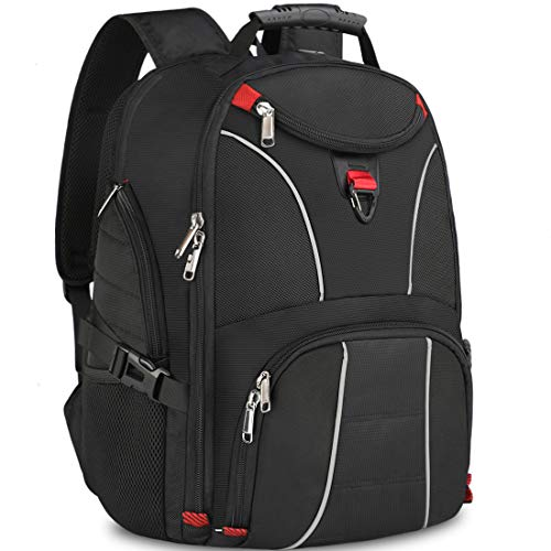 NUBILY Travel Laptop Backpack 17.3 Inch Mens Water Resistant USB Headphone Hole 17 Inch Rucksack College Business Work Bag Black