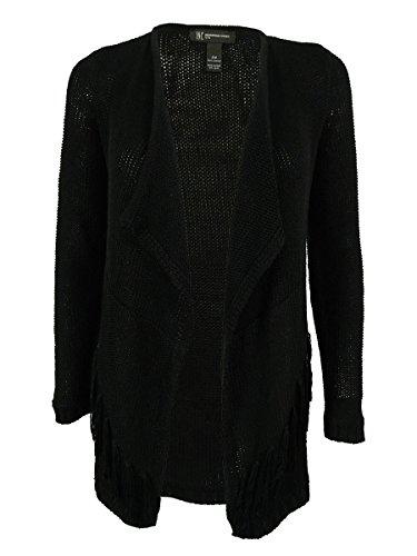 INC International Concepts Women's Knit Fringe Cardigan (P, Deep Black)