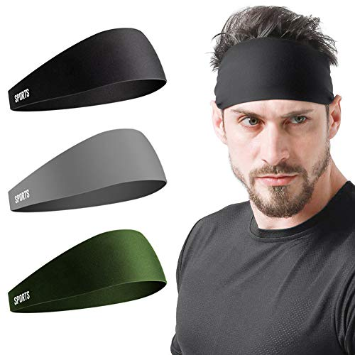Vgogfly Sweat Headbands for Men Sweatbands for Mens Headband Running Sweat Bands Headbands Men Workout Sports Hairband for Men Thin Fitness Gym Yoga Men Headband Black Grey Army Green