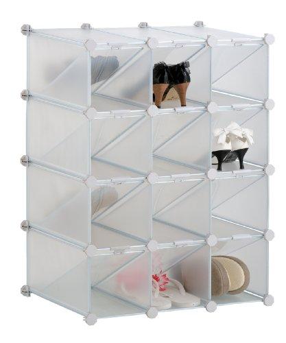 M-Home   Rangement Modulable à Chaussures   Plastique   Blanc   62 x 37 x 81 cm   INX407