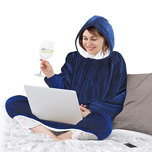 O³ Batamanta Mujer y Hombre - Manta Con Mangas y Capucha - Bata Manta Polar Mujer y Hombre - Ideal para Noches de Invierno - Talla Única - Azul