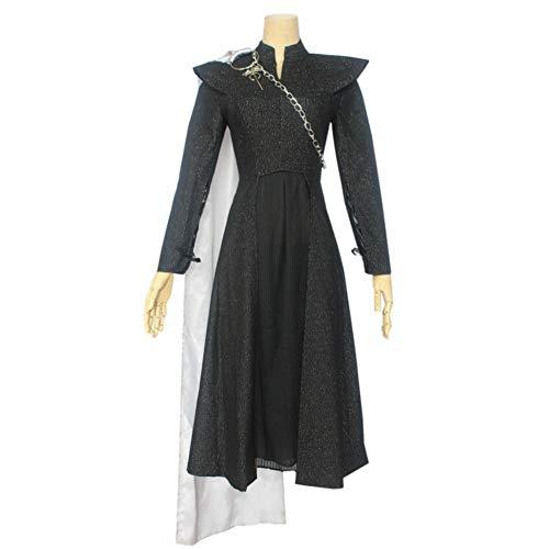 SHIXUE Daenerys Targaryen Disfraz Cosplay Adulto Disfraz De Halloween Tops + Falda Plisada + Capa + Cadena + Hombro del Grifo,M