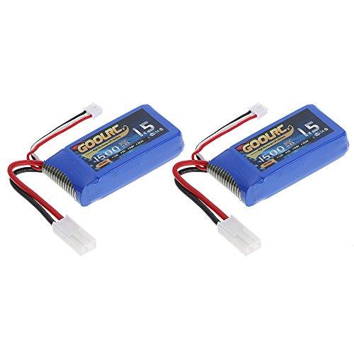 GoolRC 2pcs 7.4V 1500mAh 30C Mini TAMIYA Plug LiPo Batteria per Feilun FT009 GC001 RC Boat