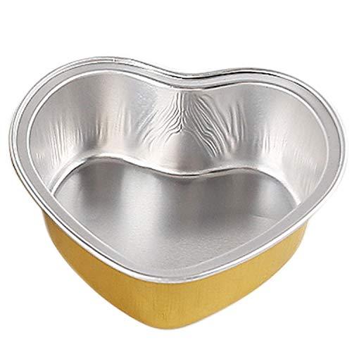 Fransande - 50 moldes para hornear (espuma, pasteles, pudding o postre, en forma de corazón, taza de papel de aluminio, resistentes a la cocción