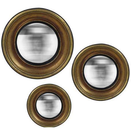 EMDE Ensemble 3 miroirs muraux Ronds 'Convexe Couleur - Doré