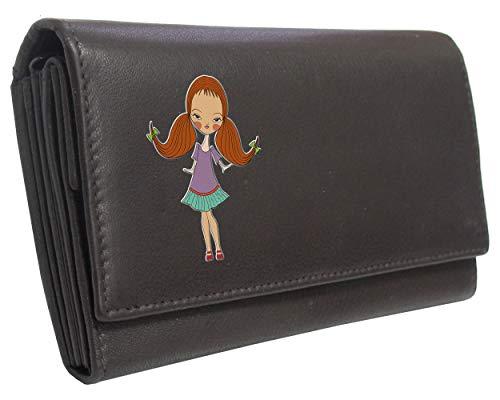 Young Mädchen mit Zöpfen KlasseK Echt Leder Damen Geldbörse Braun braun Standard please refer to Dimensions