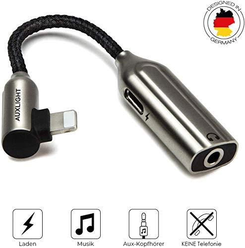 Auxlight AUX Adapter für iPhone | Musik und Laden, Kopfhörer, Kabel, 2in1 Splitter, 3,5mm Klinke, Schlüsselanhänger für iPhone 11 Pro, XS, X, XR, 8 & 7, kompatibel mit iOS13