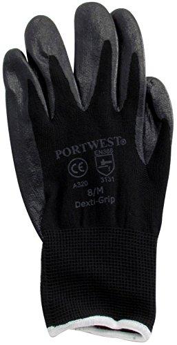 Portwest A320BKRM Lot de 12 paires de gants Dexti-Grip Noir Taille moyenne