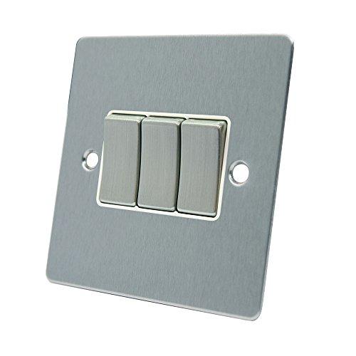 AET fsc3gswiws 10A Lichtschalter 3-Fach 2-Wege-Satin Chrom flach Dreifach Lichtschalter mit weißem Einsatz Metall Schalter