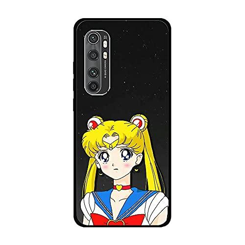 Case for XIAOMI Mi Note 10 Lite, Sailor-Moon Pretty Soldier-Girl 4 Soft Black TPU Rubber Liquid Shell Case Coque