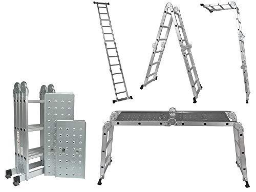 Expool aluminium multifunctionele ladder met platform. 5-in-1, 4 x 3, 350 cm, meer veiligheidsstabilisatorbreedte: 72 cm.