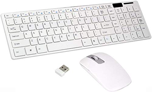 Aashirvad Ultra Thin Fashion Slim USB Bluetooth Receiver Wireless 2.4GHz Keyboard & Mouse Combo Kit for PC Tablet Android TV Laptop Smart TV Compatible with All Windows (White)