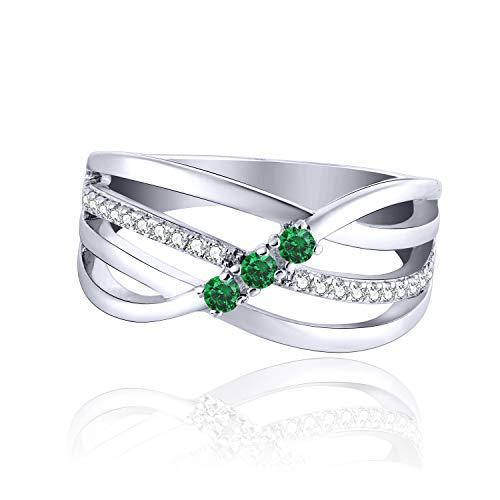 JO WISDOM Damen ring breit silber 925 mit AAA Zirkonia Mai Geburtsstein Smaragd Farbe swarovski Verlobungsring