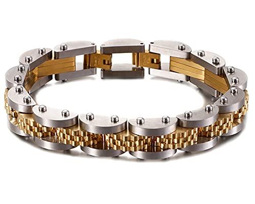 CHXISHOP Pulsera de hombre de acero inoxidable de titanio de la calle europea y americana pulsera de cadena personalizada de acero inoxidable dorado