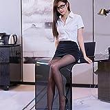 WBL Conjunto de Blusa de Disfraz de Cosplay de Uniforme de Secretaria Sexy para Mujer, LenceríaSexy de Club Nocturno con Marcos de Gafas, Pantalones T, Medias o Pantimedias