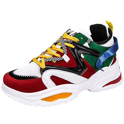 Briskorry Herren Sneaker Atmungsaktiv Sportschuhe Mode Schnürung Student Laufschuhe Outdoorschuhe Leichtathletikschuhe Leicht Sneakers Fitnessschuhe