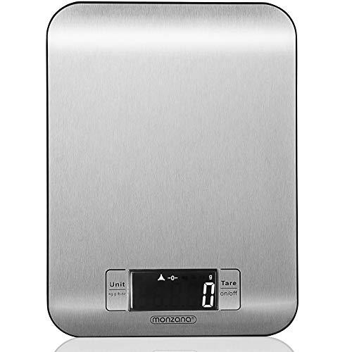 Digitale Küchenwaage 8kg Haushaltswaage LCD Display Edelstahl Digitalwaage Sensor-Touch-Funktion Kochwaage Tara-Funktion