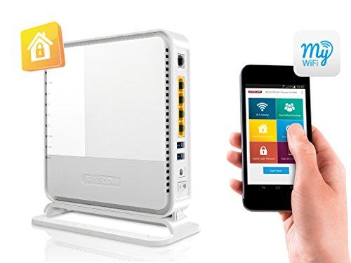 Sitecom N900 Wi-Fi Duallband Gigabit Modem/Router X6, 2X USB, Sitecom Cloud Security, Bianco