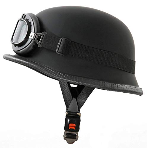 DLPAC Adult Retro Motorcycle Half Helmet for Men & Women with Goggles DOT Approved Personality Matte Black Bike Cruiser Chopper Moped Scooter ATV Helmets (56-62cm)