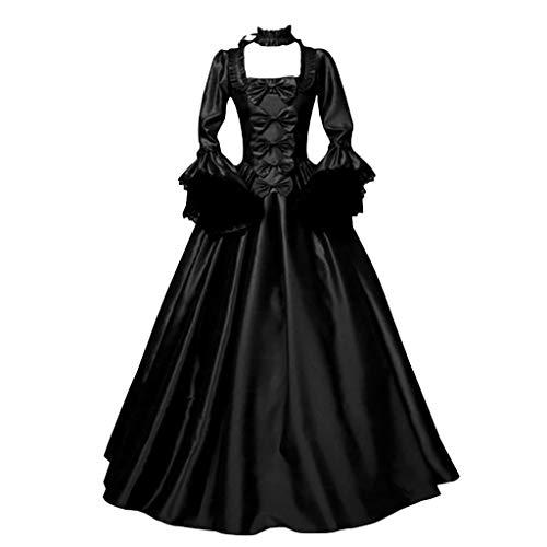 NHNKB Vestido de mujer Belle para adultos, Halloween, carnaval, fiesta, vestido de princesa, con mangas de trompeta, talla M, color negro