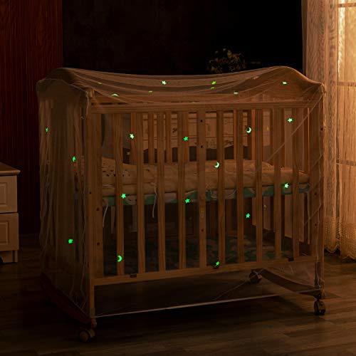Ecoart Mosquitero Cuna con Brillantes Estrellas y Lunas Fluorescentes, Mosquitero Net Cama para bebé, mosquitos bebe Antimosquitos (Mosquitero Cuna)