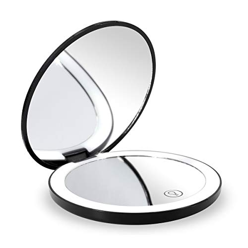 Travel Lighted LED Makeup Mirror 7X/1X Magnification Compact Vanity Mirror with Lights, USB Rechargeable Lighted Handheld Mirror,Dimmable Cosmetic Mirror with Touch Screen Switch,USB Charge (Black)