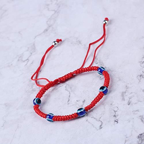 Leiouser - Pulsera de cuerda roja con protección contra el mal de ojo turco de Cabalá
