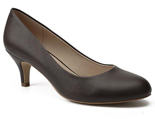 MaxMuxun Zapatos de Tacón Punta Redonda Café sin Cordones Diseño Casual Comodido para Oficina con Tacón de Aguja para Mujer Talla 37 EU