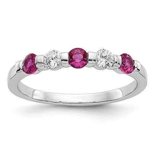 14k White Gold Diamond Red Ruby Wedding Ring Band Size 7.00 Stone Gemstone Birthstone July Bridal M Fine Jewellery For Women Mothers Day Gifts For Her