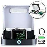 Sumato WatchBox [Boite Batterie De Recharge pour Apple Watch 5 4 3 2 1|MFI Certification 5000mAh Power Bank pour Recharger iWatch & iPhone (Gris Souris)