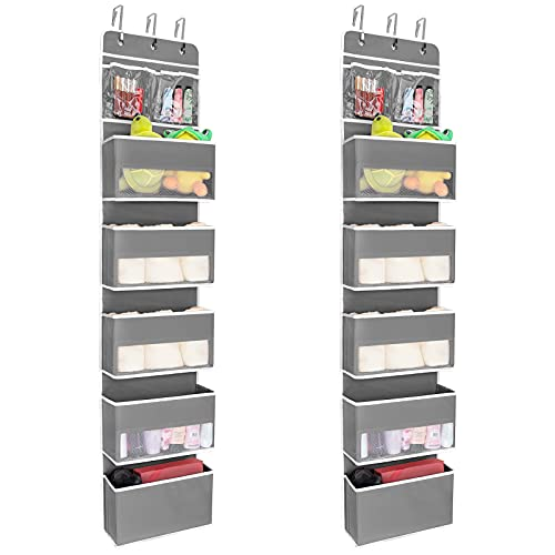 JARLINK 2 Pack 6-Shelf Over Door Hanging Organizer, Wall Mount Storage for Bedroom or Kitchen, Clear Window and PVC Pocket for Storage Cosmetics, Stationery, Sundries, etc (Grey)