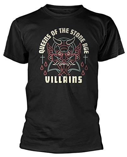 Queens of The Stone Age 'Villains' T-Shirt Men's Fashion Crew Neck Short Sleeves Cotton Tops Clothing, Black