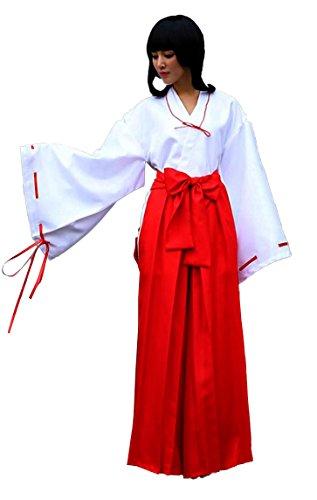 TOKYO-T Inuyasha Kikyo Miko Costume Japanese Hakama Cosplay (L) White
