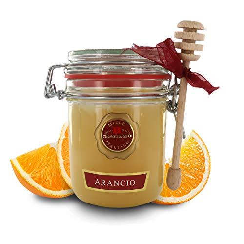 Brezzo Miel de Flores de Naranjo - Origen Italia - Tarro Hermético con Cuchara De Miel - 400 Gramos
