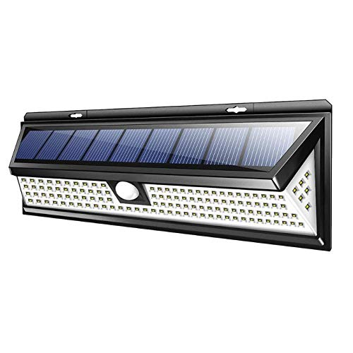 MeiqiQ Led-zonnelamp, 118 leds, voor buiten, tuin, waterdicht, met pir bewegingssensor, waterdicht, heldere zonne-veiligheidsverlichting, wandlamp, waterdicht en duurzaam buitenverlichting