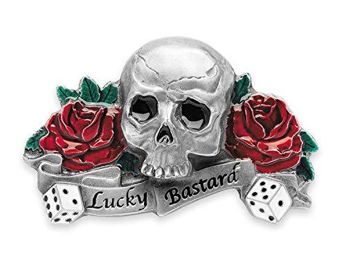 SunnyTrade24 Buckle Lucky Bastard - extrem coole Rockabilly Biker Gürtelschnalle aus 100% Metall - Geschenk für Männer