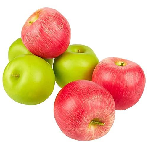 Künstliche Äpfel von Juvale (6er Set) - Realistische Details - Hohlattrappe als Dekoration, für Stillleben, Gemälde, Schaufenster, Küche - Kunststoff - Rot, Grün - 6,9cm x 5,6 cmx 6,3cm