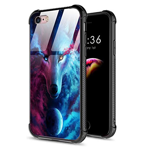 DAHAOGUO iPhone 6s Case,iPhone 6 Case,9H Tempered Glass Back Cover Pattern Design + TPU Shock Absorption Bumper Protective Case Compatible for iPhone 6/6s Galaxy Wolf