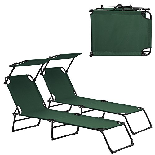 casa.pro] Set de 2 tumbonas Plegables 190cm Verde Oscuro con Parasol Hamaca de Acero para Playa, jardín y Piscina