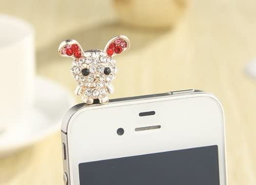 Dust Plug-earphone Jack Accessories Crystal Rabbit Branded goods Ch Super Special SALE held Pink Cell