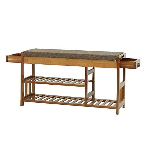 Zapatero de 3 niveles, organizador de almacenamiento de zapatos, perfecto para el pasillo, entrada, banco de bambú con asiento acolchado y asiento acolchado para todo tipo de
