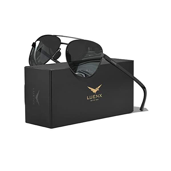 LUENX Aviator Sunglasses for Men Women-Polarized Driving UV 400 Protection with Case