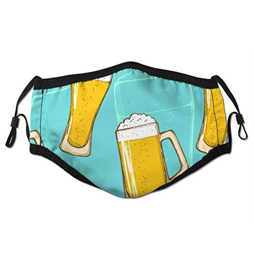 Bier Hand Zeichnung bunte Gläser Bier Oktoberfest Bier,Half Face Dusts Baumwolle Winddichte Anti-Wiederverwendbare Komfortable Atmungsaktive Sturmhaube für Frauen Männer