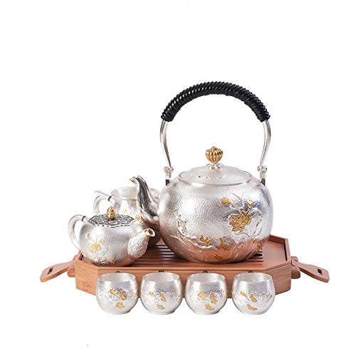 no-branded Teiera d'Argento Cinese Handmade Kung Fu Tea Set Kettle casa USA Silver Pure Tea Set Idee Regalo for Le Donne Adulte XXYHYQHJD
