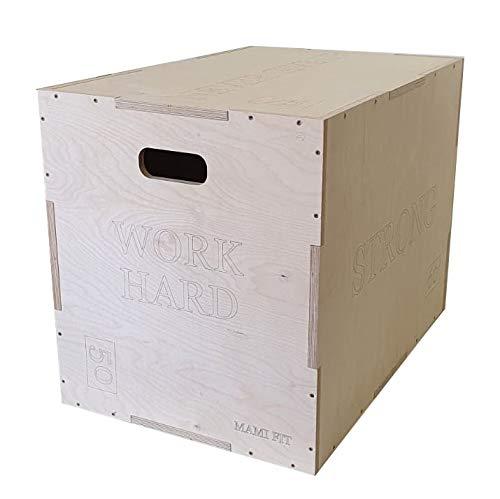 Jump Boxspringbox Fitnessstudio Training Aerobic Crossfit aus massivem und robustem Holz mit Tragegriffen für den Transport 3 Varianten plyometrische Boxen personalisierbar (Medium 60 x 50 x 40 cm)